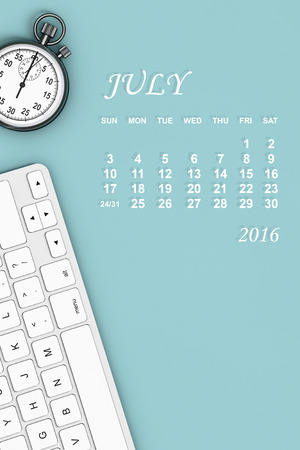 everyday jobs: 2016 year calendar. June calendar with Stopwatch and Keyboard. 3d Rendering Stock Photo