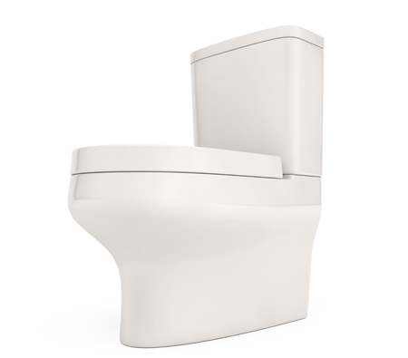 empty the bowel: White Ceramic Toilet Bowl on a white background. 3d Rendering