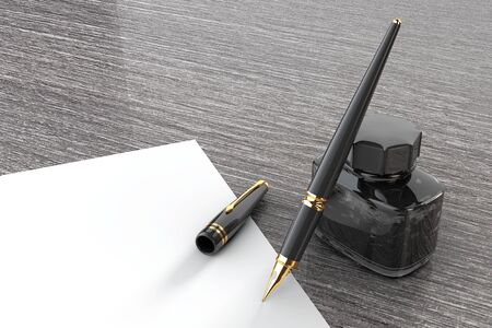 stylo: Fountain Pen with Ink Bottle on a wooden table extreme closeup. 3d Rendering