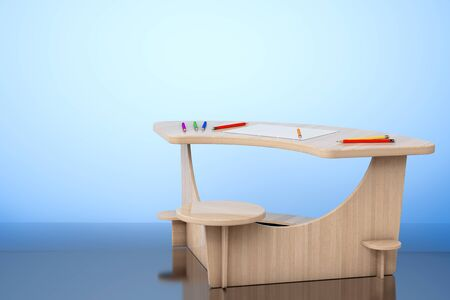 comfort classroom: Wooden Study Kid Desk with Pencils and Picture Paper on the floor. 3d rendering Stock Photo