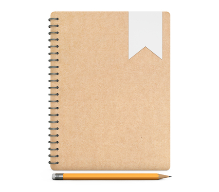 Personal Diary or Organiser Book with Pencil on a white background. 3d Rendering Stock Photo