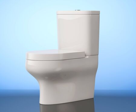 urinate: White Ceramic Toilet Bowl on a blue background. 3d Rendering Stock Photo