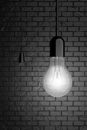 saver bulb: Bombilla con tirador en frente de la pared de ladrillo. Representaci�n 3d Foto de archivo