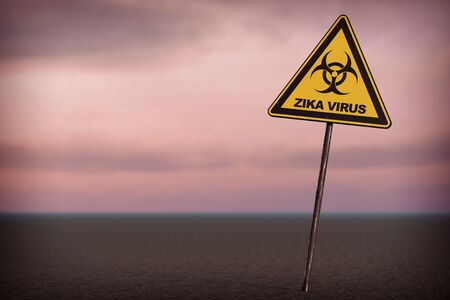 pandemia: Zika Virus Warning Sign on a sky background. 3d Rendering