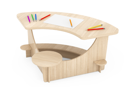 comfort classroom: Wooden Study Kid Desk with Pencils and Picture Paper on a white background. 3d Rendering Stock Photo