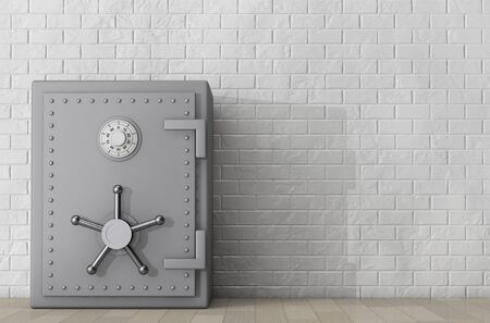 bank safe: Metallic Bank Safe in front of Brick Wall. 3d Rendering