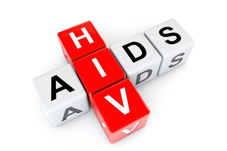 std: Aids and HIV cubes on a white background. 3d Rendering Stock Photo