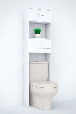 urinate: White Ceramic Toilet Bowl with Shelf on a white background. 3d Rendering