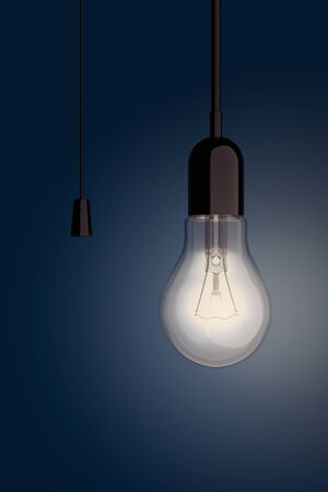 bombillo ahorrador: Light Bulb with Cord  Switch on a blue background. 3d Rendering