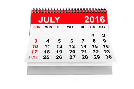 calendario julio: 2016 año calendario. calendario de julio sobre un fondo blanco. Las 3D