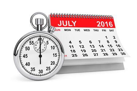calendario julio: 2016 año calendario. calendario de julio con cronómetro sobre un fondo blanco. Las 3D Foto de archivo