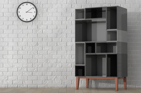 racking: Modern Abstract Shelf in front of Brick Wall. 3d Rendering Stock Photo
