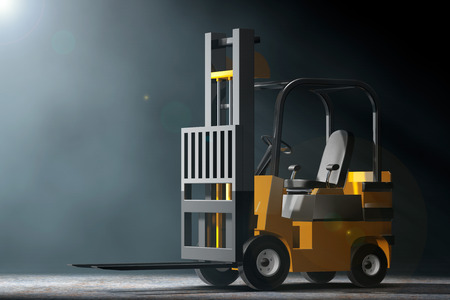 distribution picking up: Forklift Truck in the volumetric light on a black background. 3d Rendering