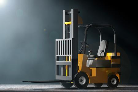volumetric: Forklift Truck in the volumetric light on a black background. 3d Rendering