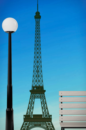 street lamp: Romantic Concept. Eiffel Tower, Bench and Street Lamp extreme closeup. 3d Rendering Stock Photo
