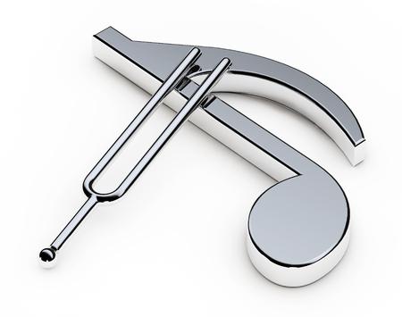 Música Afinación Tenedor sobre Nota sobre un fondo blanco. Representación 3d