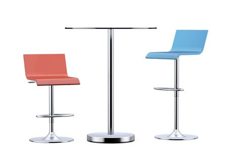 stools: Colour Bar Vintage Stools with Table on a white background. 3d Rendering Stock Photo
