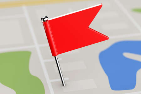 red  pointer: Red Pointer Flag on Map Background extreme closeup. 3d Rendering Stock Photo