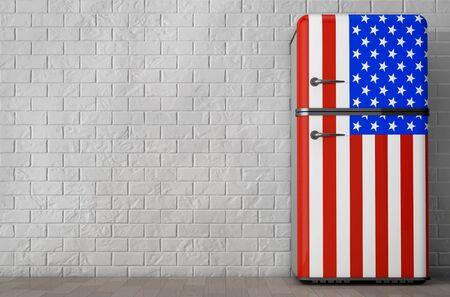 Retro Us Kühlschrank : Retro kühlschrank mit den usa flagge vor ziegelmauer d rendering