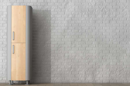 kitchen cabinet: Modern Wooden Kitchen Cabinet in front of Brick Wall. 3d Rendering