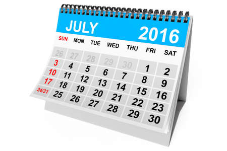 calendario julio: 2016 year calendar. July calendar on a white background. 3d Rendering