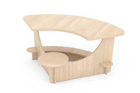 comfort classroom: Wooden Study Kid Desk on a white background. 3d Rendering