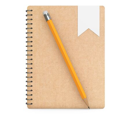 organiser: Personal Diary or Organiser Book with Pencil on a white background. 3d Rendering Stock Photo
