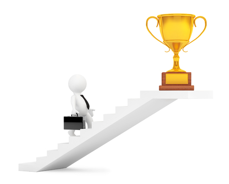 businessman walking: Businessman Walking Up Stairs to Trophy Win Price on a white background. 3d Rendering Stock Photo