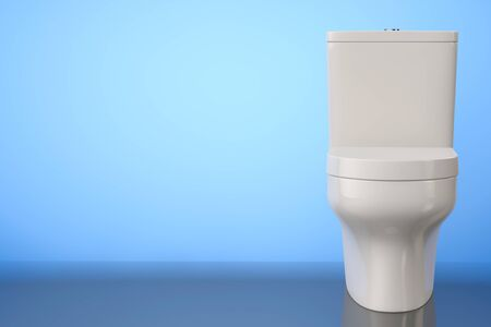 empty the bowel: White Ceramic Toilet Bowl on a blue background. 3d Rendering Stock Photo