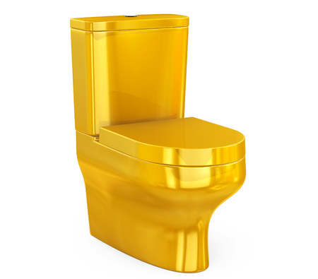 empty the bowel: Golden Ceramic Toilet Bowl on a white background. 3d Rendering Stock Photo