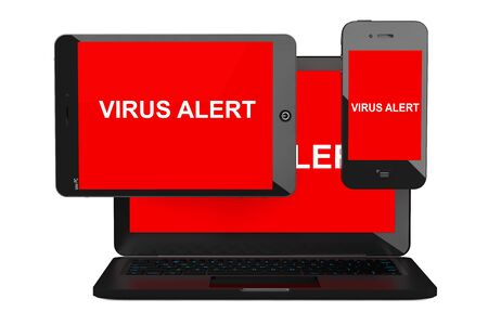 anti piracy: Mobile Security Concept. Virus Infected Mobile Phone, Tablet PC and Laptop on a white background. 3d Rendering