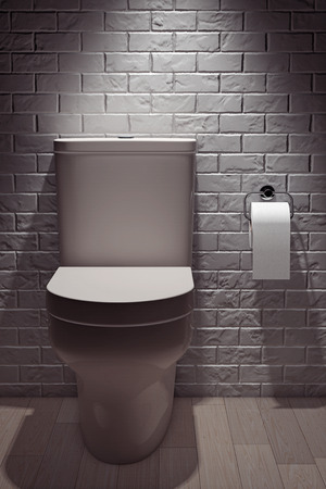empty the bowel: White Ceramic Toilet Bowl in front of Brick Wall. 3d Rendering Stock Photo