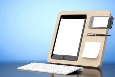 mobile devices: Wooden Mobile Devices Organiser on a blue background. 3d Rendering Stock Photo