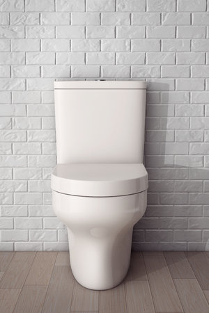 cistern: White Ceramic Toilet Bowl in front of Brick Wall. 3d Rendering Stock Photo