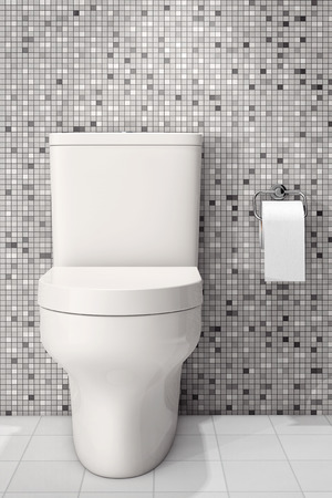 cistern: White Ceramic Toilet Bowl in front of Tiles Wall. 3d Rendering Stock Photo