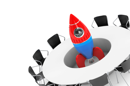 inovation: Chairs around a Table with Startup Rocket in the middle on a white background. 3d Rendering