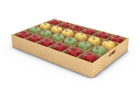 abundance: Wooden Crate Box with Yellow, Red and Green Apples on a white background. 3d Rendering