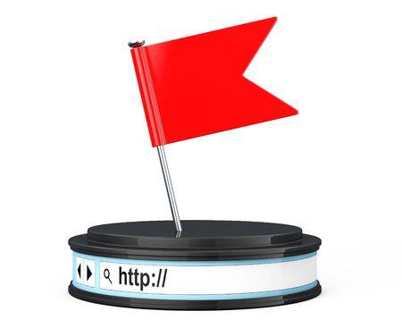 url virtual: Red Flag over Browser Address Bar as Round Platform Pedestal on a white background. 3d Rendering
