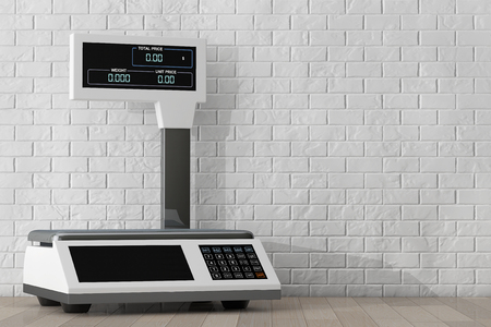 foodstuffs: Electronic Scales for weighing Food in front of Brick Wall. 3d Rendering Stock Photo