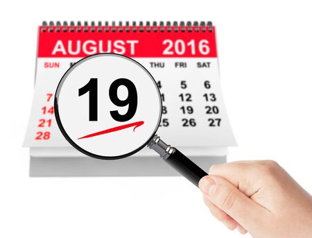 19: National Aviation Day Concept. 19 August 2016 calendar with magnifier on a white background