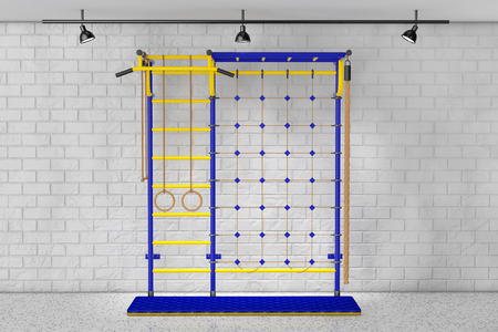 home equipment: Sports Playground Wall Bars for children in front of Brick Wall. 3d Rendering