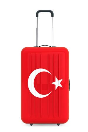 concep: Travel to Turkey concep. Suitcase with Turkey flag on a white background. 3d Rendering