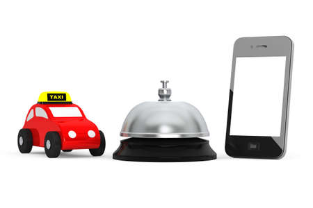 service bell: Toy Taxi Car with Mobile Phone and Service Bell on a white background. 3d Rendering Stock Photo