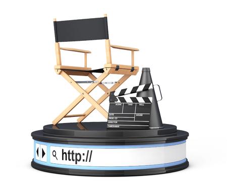 filmmaker: Director Chair, Movie Clapper and Megaphone over Browser Address Bar as Round Platform Pedestal on a white background. 3d Rendering