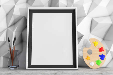 pallette: Blank Picture Frame with Paintbrushes and Pallette in front of Low Polygon Decorative Wall extreme closeup. 3d Rendering Stock Photo