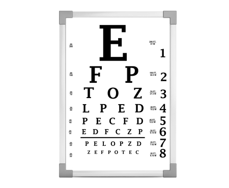 eye chart: Snellen Eye Chart Test Box on a white background. 3d Rendering Stock Photo
