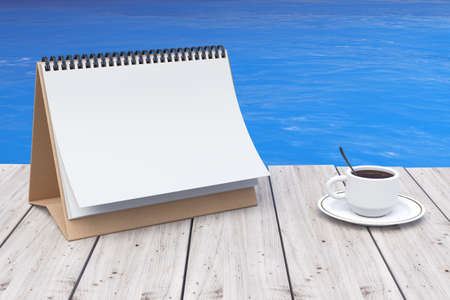 beach ad: Blank Calendar with Coffee Cup in front of Ocean extreme closeup. 3d Rendering