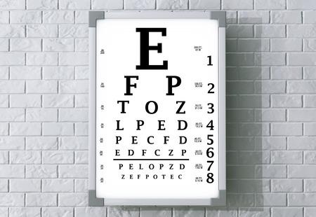 snellen: Snellen Eye Chart Test Box in front of brick wall. 3d Rendering Stock Photo