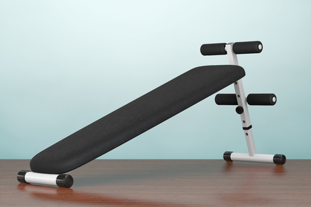 Old Style Photo. Exercise bench. Gym Equipment on the wooden floor. 3d Rendering