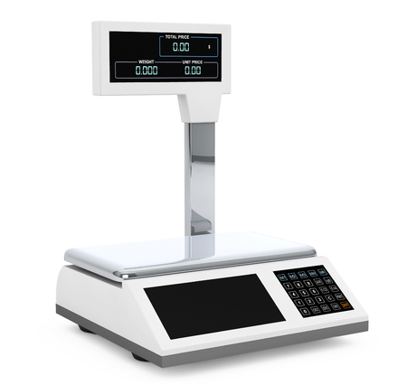 electronic background: Electronic Scales for weighing Food on a white background. 3d Rendering